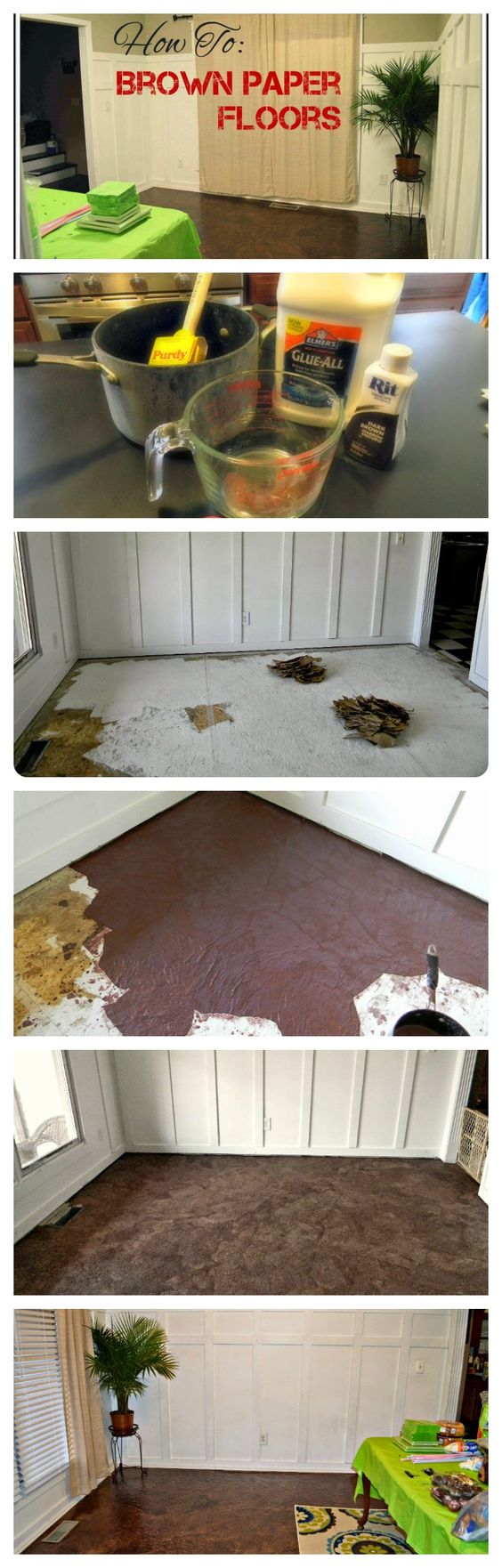 Diy brown paper floor part 2 beautiful brown paper for Unusual inexpensive flooring ideas