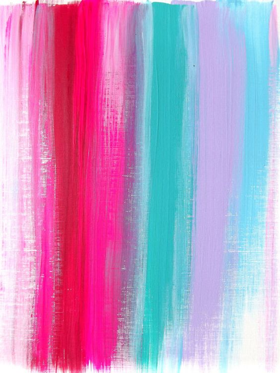 Abstract Pink Teal Ruby Original Acrylic Painting