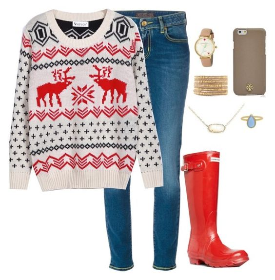 """""""Officially Christmas break for me!!!! """" by apemb ❤ liked on Polyvore featuring Jacob Cohёn, WithChic, Hunter, Kate Spade, Tory Burch, Chan Luu and Kendra Scott"""