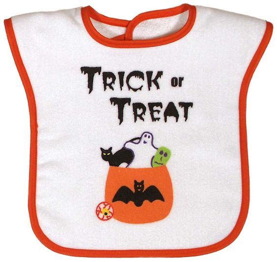 Trick or Treat? That is the question on this 100% cotton larger velour terry bib. Made in USA. $14.00