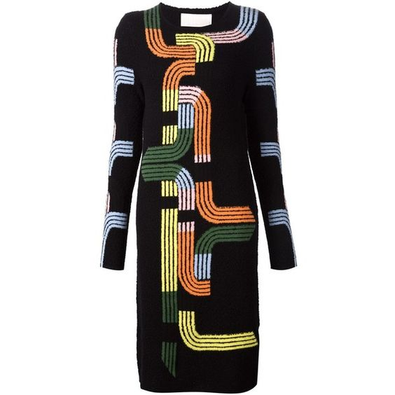 Peter Pilotto Track Knit Dress ($1,120) ❤ liked on Polyvore featuring dresses, black, peter pilotto dresses, round neck dress, colorful dresses, kohl dresses and multi colored dress