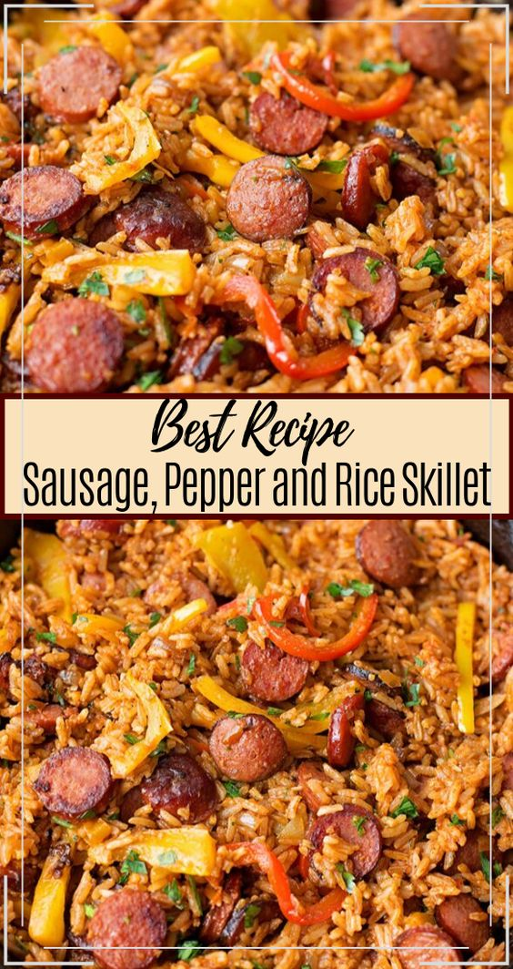 Sausage, Pepper and Rice Skillet #dinnerrecipe #food #amazingrecipe #easyrecipe