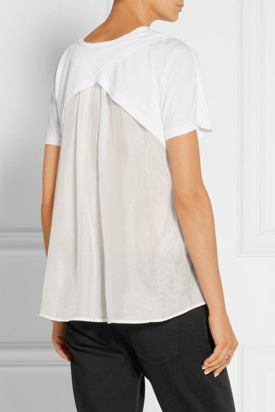 White cotton and modal-blend and silk  Slips on Fabric1: 50% cotton, 50% modal; fabric2: 100% silk Dry clean