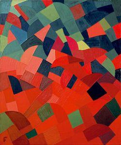 Otto Freundlich, Grün-Rot, 1939, Öl auf Leinwand, 65 x 54,5cm, Museum Ludwig 1976, erworben mit Unterstützung des Landes NRW (via Museum Ludwig Köln - Sammlung … Bauhaus und De Stijl)