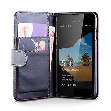 Microsoft / Nokia Lumia 550 PU Leather Black Wallet Case Cover Screen Protector