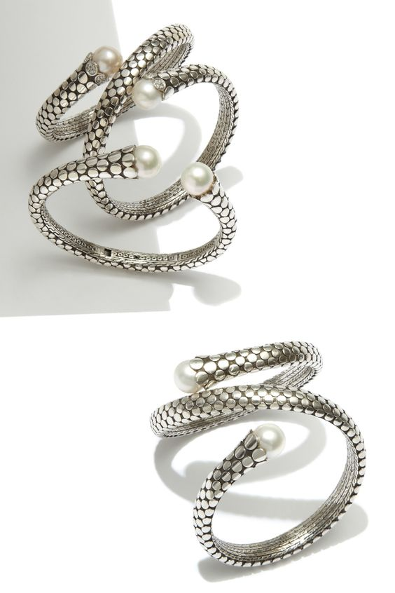 You'll never unwrap these gorgeous #JohnHardy white pearl, diamond bracelets from around your wrists #SaksStyle