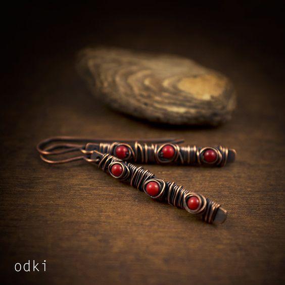 red coral earrings - wire wrapped earrings - raw copper earrings - oxidized • rustic earrings - tribal - red stones jewelry - primitive by odki on Etsy