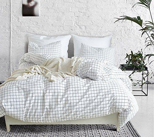 Sanmadrola Modern Mini Black And White Grid Plaid Checkered Pattern 3 Duvet Cover Sets Geometric Duvet White Bed Sheets