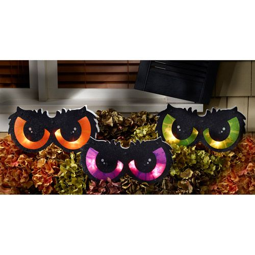 Staked Lighted Owl Eyes Halloween Party Decoration