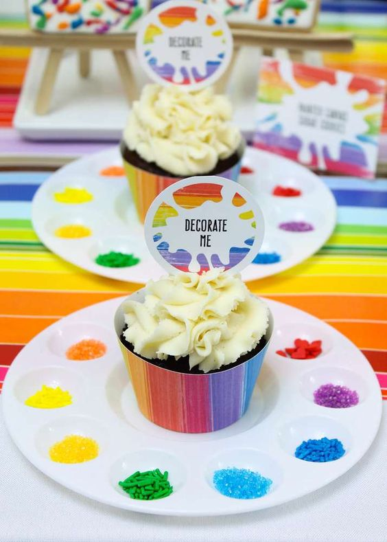 Cupcake decorating at an art birthday party! See more party ideas at CatchMyParty.com!