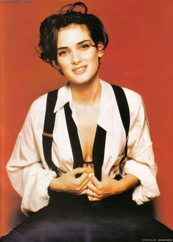 Winona in a suit