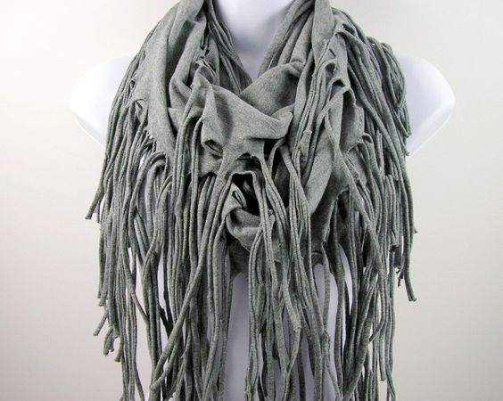Light Gray Fringe T Shirt Scarf  Grey Fringe Infinity Scarves Chunky Fringed Cotton Circle Scarves Western Scarves Cowls by LooptheLoop on Etsy