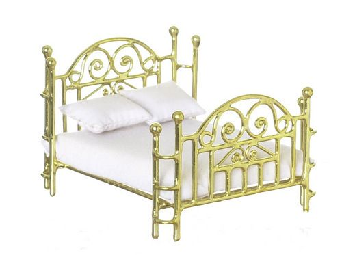 "1/2"" half inch Scale dollhouse Miniature furniture Brass Double Bed"