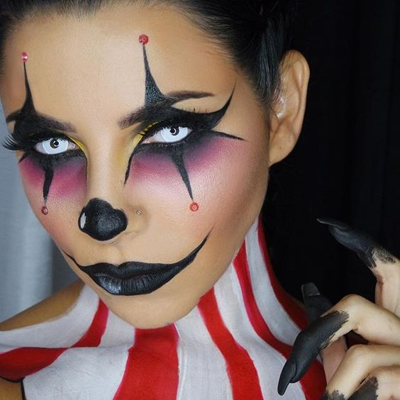 Wickedly cool clown makeup effect / Paired with all-white FX contact lenses ~ https://www.pinterest.com/pin/350717889712006179/