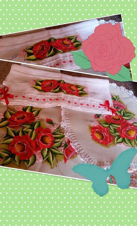 Juegos De Baño Pintados En Tela:Juego cuerina pintado rosas rojas