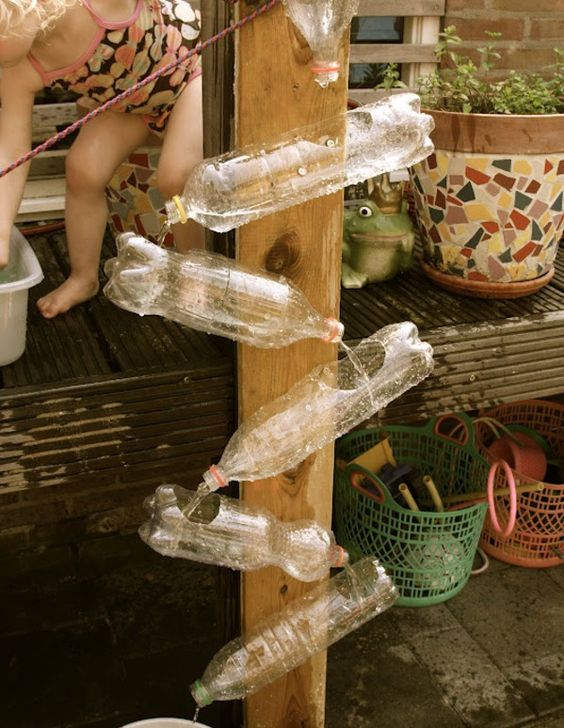 Recycled plastic bottles become a waterwall.  My kinders will LOVE this!