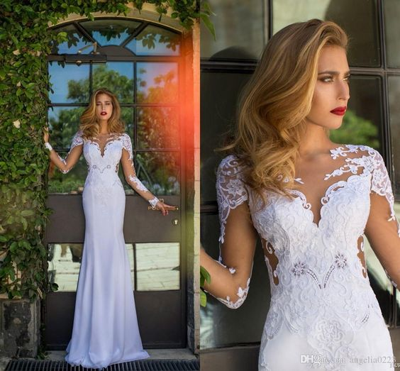 Vintage White Long Wedding Dresses 2015 V Neck Long Sleeves Backless Mermaid Bridal Gowns With Pure Appliques Sweep Train Wedding Dress