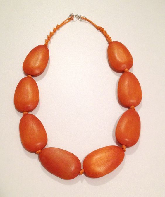 Necklace, wooden beads