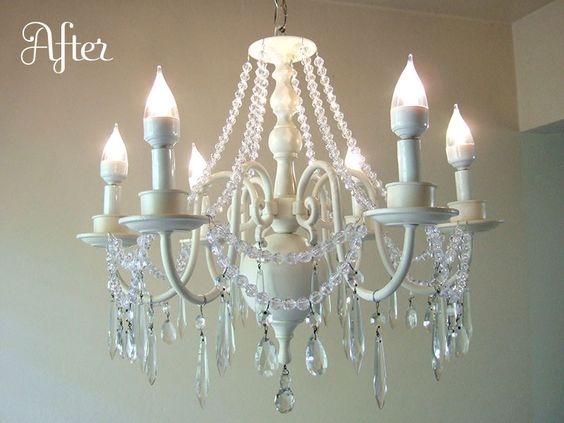 Brass chandelier makeover with paint & beads - craftynest