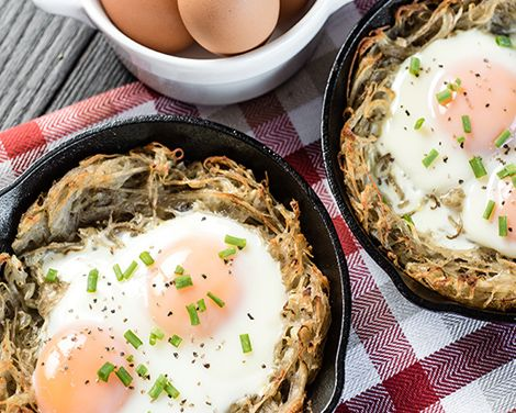 Spiralized Potato and Egg Nests