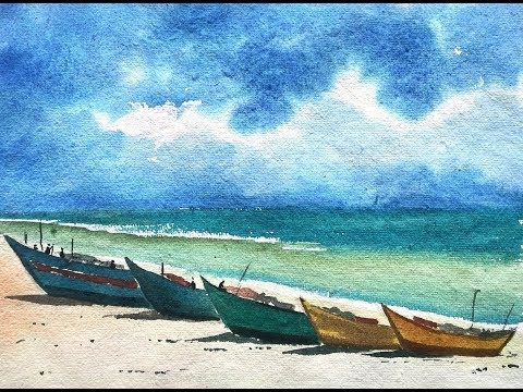 Watercolor Painting Tutorial Of Seaside Landscape Easy Step By Step Youtube Easy Landscape Paintings Watercolor Landscape Tutorial Watercolor Paintings
