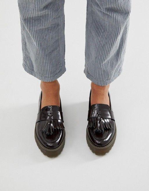 Monki flatform loafer in dark brown