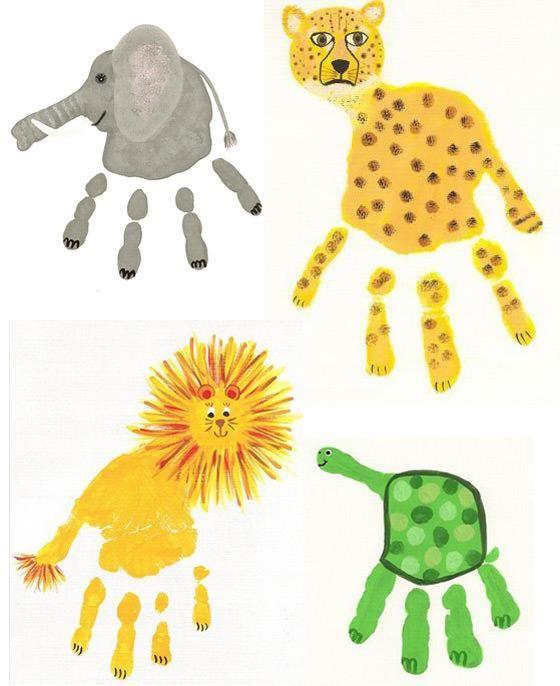 #DIY Easy and creative animal handprint with paint www.kidsdinge.com https://www.facebook.com/pages/kidsdingecom-Origineel-speelgoed-hebbedingen-voor-hippe-kids/160122710686387?sk=wall #kids #kidsdinge