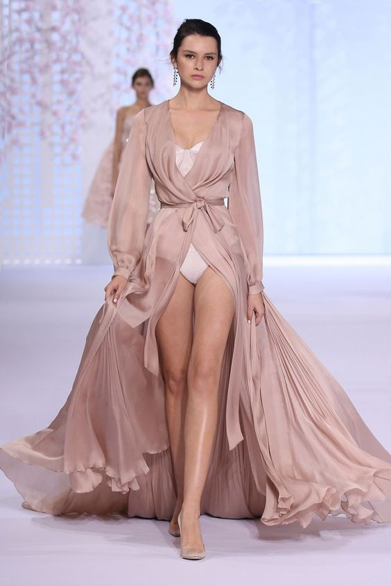Nude silk satin chiffon robe with pleated godets over beaded blush pink bustier.