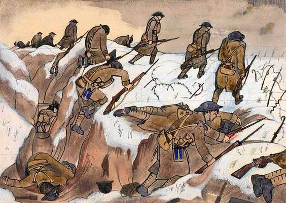 'Over The Top' 1st Artists' Rifles at Marcoing, 30th December 1917, by John Nash. | Extraordinary First World War Art, From Initial Sketches To Finished Paintings