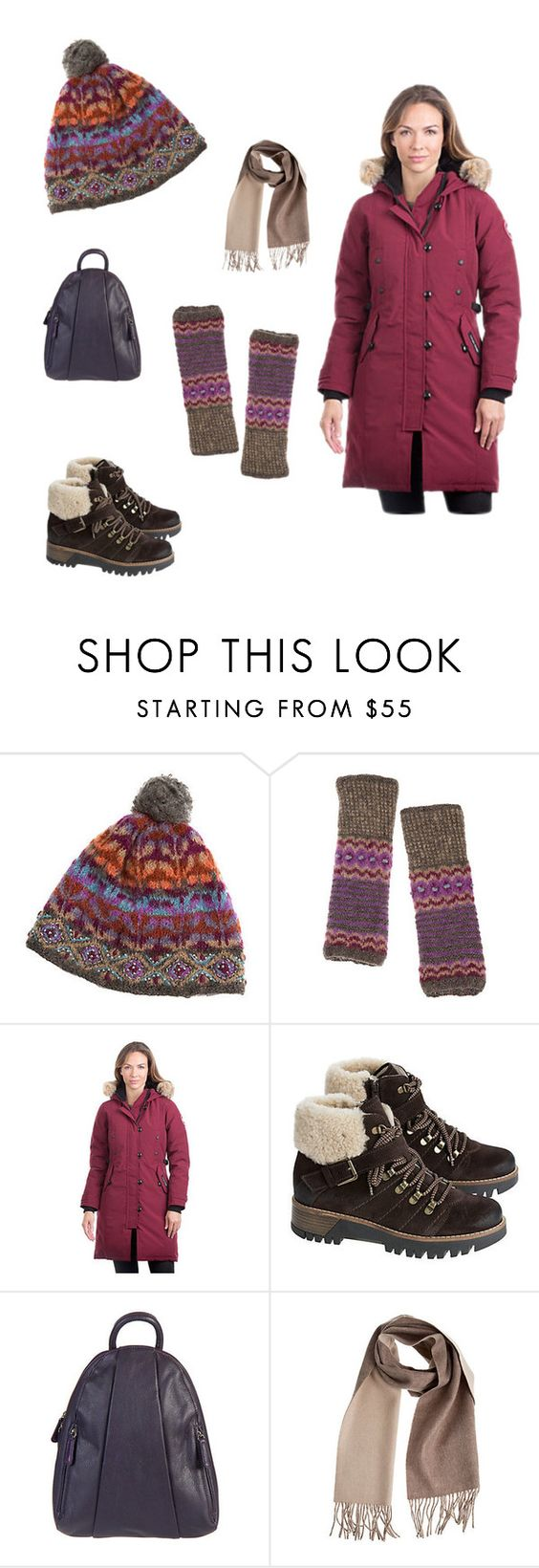 """The Kensignton-Get the Look! www.overland.com"" by shopoverland ❤ liked on Polyvore featuring Overland Sheepskin Co., Canada Goose and Bos. & Co."