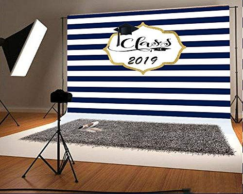 220x150cm x5ft 7ft W White and Black Stripes Graduation Party Photography Backdrops Congratulate Grade Prom Party Photo Background Fabric No Wrinkle for Table Banner H