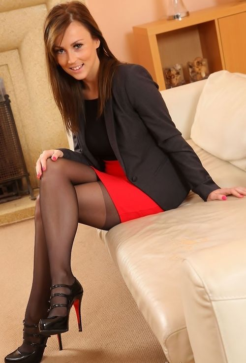 Red skirt, the stocking top shows, and the feisty is in that smile :)