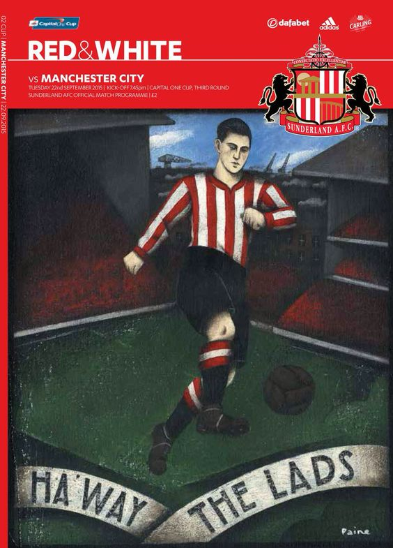 Sunderland v City match programme front cover (Capital One Cup) #mcfc