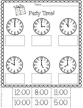party time telling time to the hour printables freebie math pinterest teaching time. Black Bedroom Furniture Sets. Home Design Ideas