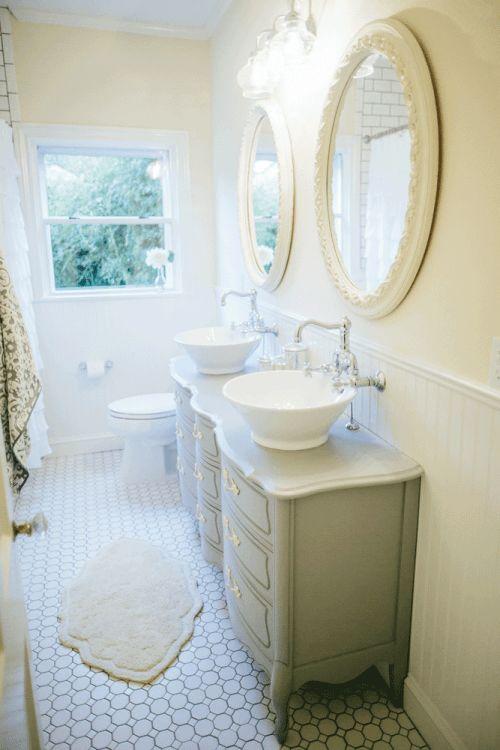 Fixer upper vanities tile and sinks - Fixer upper long narrow bathroom ...