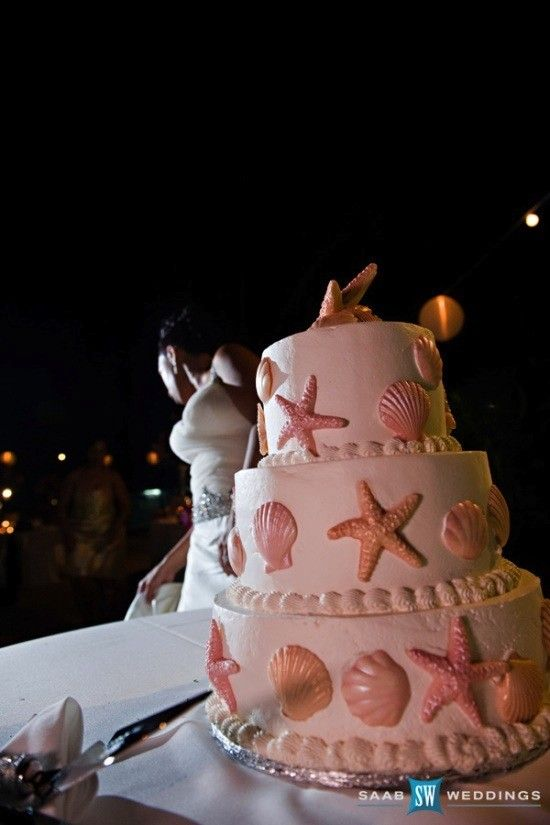 Pink wedding cakes,  Beach Wedding Cakes www.loveitsomuch.com
