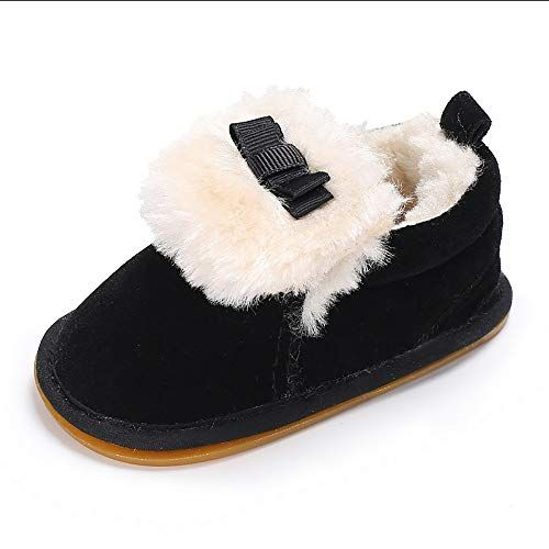 Wollanlily Baby Boys Girls Fur Soft Sole Bow Crib Shoes Slip-On Moccasins Slippers Infant Toddler Pre-Walker Shoe