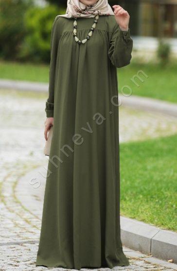 Sahsenem Robali Elbise Yesil Islami Giyim Elbise Giyim