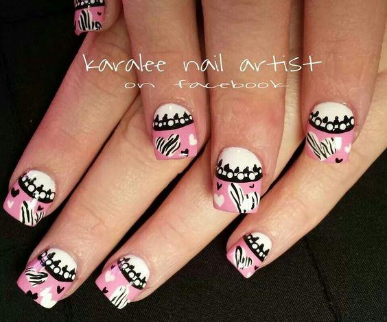 valentines day nails- nail art zebra print hearts pink french black lace by karalee nail artist