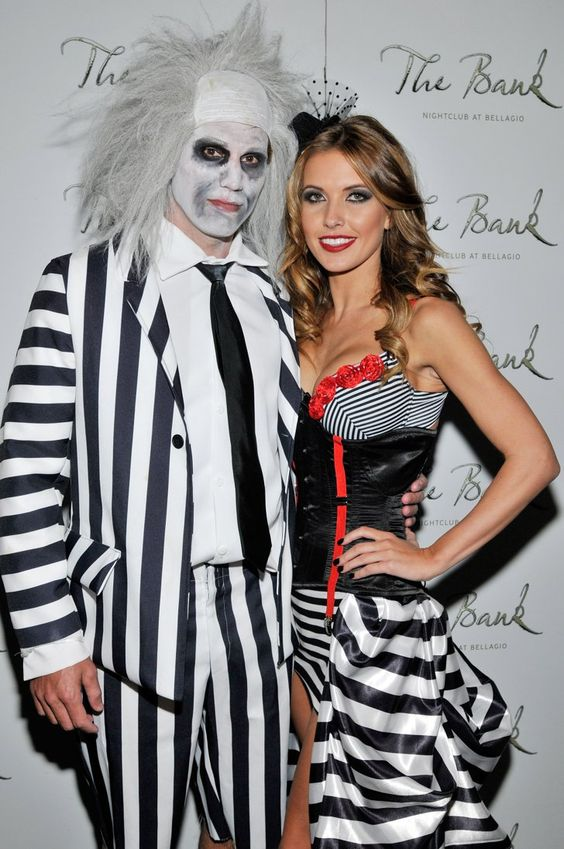 Pin for Later: Get Some Halloween Inspiration With 80+ Amazing Celebrity Costumes!  Audrina Patridge and Corey Bohan wore his-and-hers Beetlejuice inspired costumes to a 2010 Halloween party in Vegas.