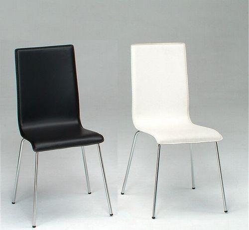 Silla ABB-NE, cromada, tapizado negro