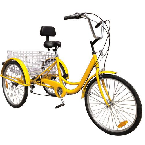 7 Speed Tricycle 24 Adult 3 Wheel Trike With Basket Yellow