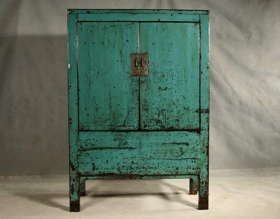 Tres belle armoire chinoise bleu meuble chinois - Armoire chinoise noire ...