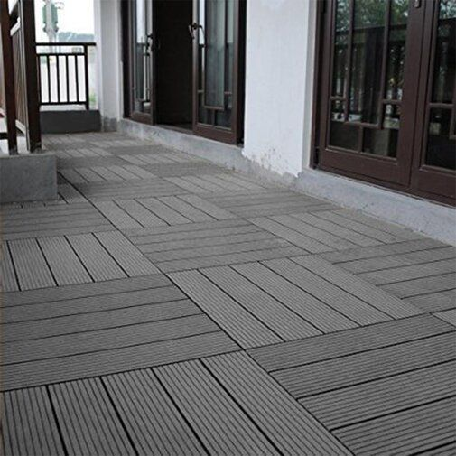 12 X 12 Plastic Interlocking Deck Tile In Gray Interlocking Deck Tiles Deck Tile Outdoor Flooring