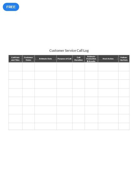 Free Customer Service Call Log With Images Daily Planner