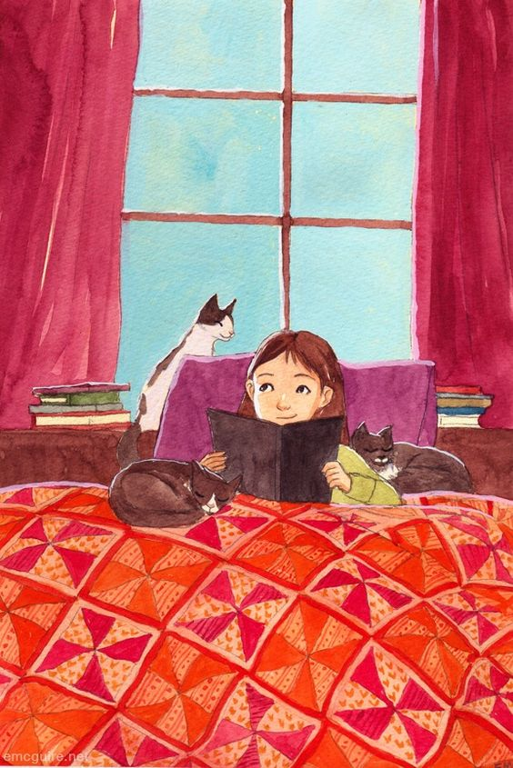 """between books & cats""/entre libros y gatos, ilustración de erin mcguire:"