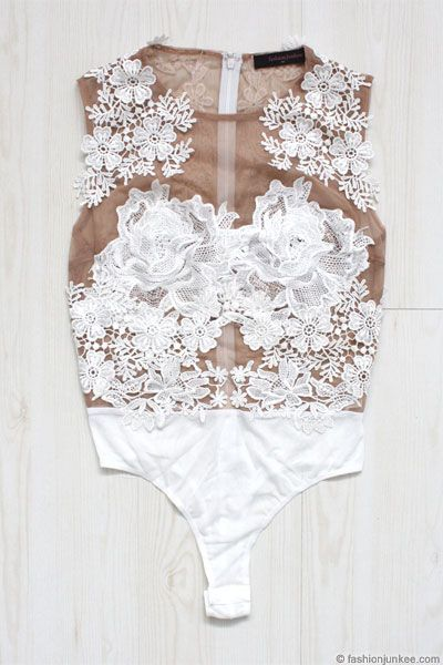 Sexy Sheer Mesh Floral Lace Bodysuit-White & Nude: