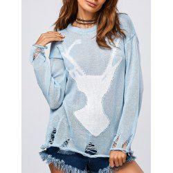 Elk Pattern Frayed Pullover Knitwear