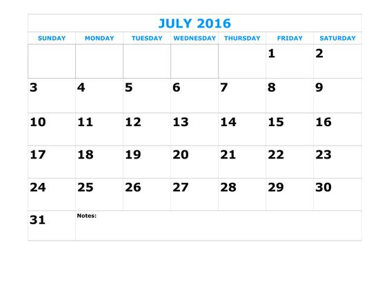 July calendar, Calendar and 2016 calendar on Pinterest