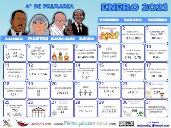 Calendario Sexto ABN – Enero 2021